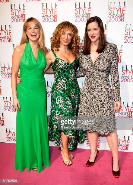 Actresses Kim Medcalf Traceyann Oberman and Michelle Ryan arrive for the Elle Style Awards 2005 at Spitalfields Market on February 15 2005 in London...