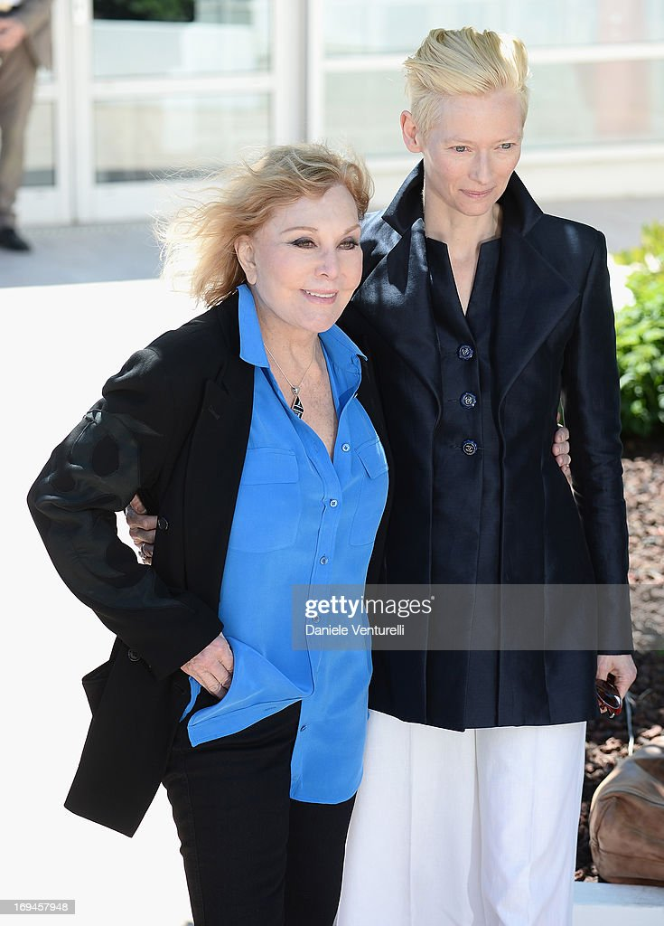 Actresses Kim Novak and Tilda Swinton attend the 'Hommage To Kim Novak' photocall during the 66th Annual Cannes Film Festival at the Palais des Festivals on May 25, 2013 in Cannes, France.