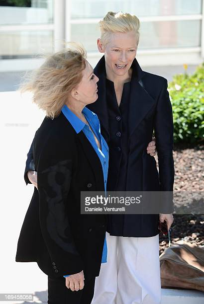 Actresses Kim Novak and Tilda Swinton attend the 'Hommage To Kim Novak' photocall during the 66th Annual Cannes Film Festival at the Palais des...