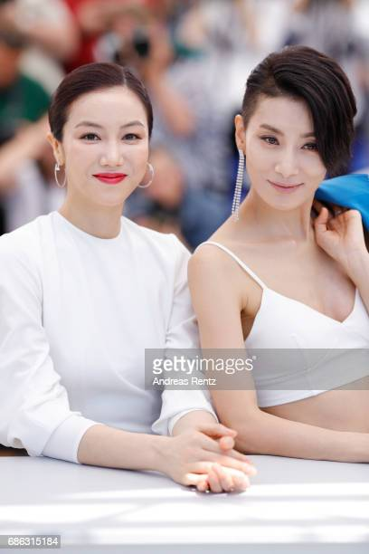 Actresses Kim Ok Vin and Kim Seo Hyung attend The Villainess photocall during the 70th annual Cannes Film Festival at Palais des Festivals on May 21...