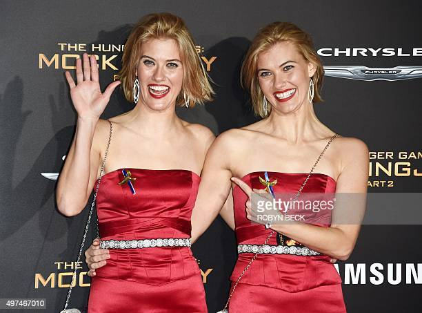 """Actresses Kim Ormiston and Misty Ormiston attend the premiere of """"The Hunger Games: Mockingjay - Part 2"""" at the Microsoft Theater in Los Angeles,..."""