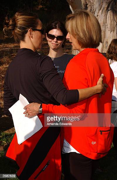 Actresses Kim Raver and Jeanne Tripplehorn chat with EI Chairwoman BJ Dockweiler at the 8th Annual Expedition Inspiration TakeAHike at Paramount...
