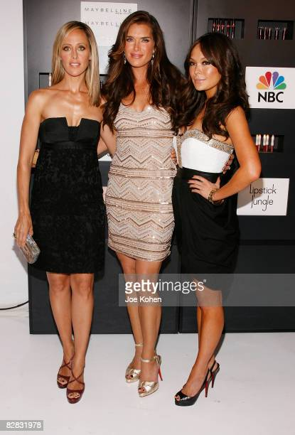 """Actresses Kim Raver, Brooke Shields and Lindsay Price attend the """"Lipstick Jungle"""" premiere party at Studio 450 on September 15, 2008 in New York..."""