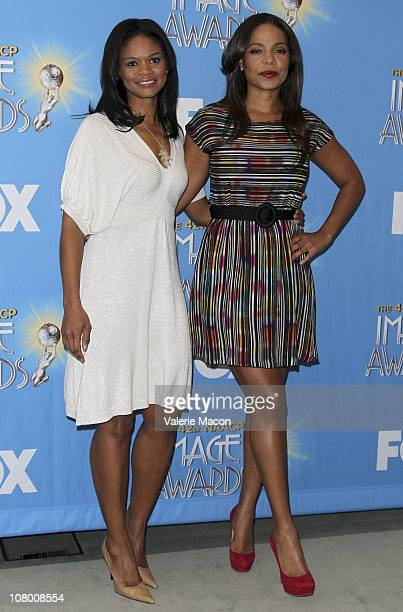 Actresses Kimberly Elise and Sanaa Lathan attend the 42nd NAACP Image Awards Nomination Announcement And Press Conference on January 12 2011 in...