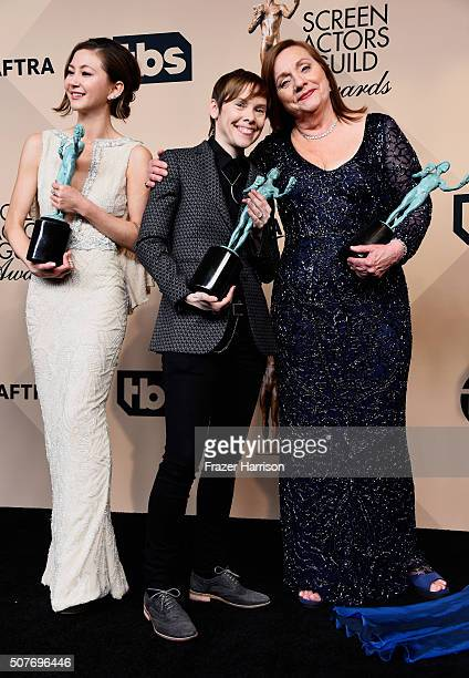 Actresses Kimiko Glenn Abigail Savage and Dale Soules winners of the Outstanding Performance by an Ensemble in a Comedy Series award pose in the...