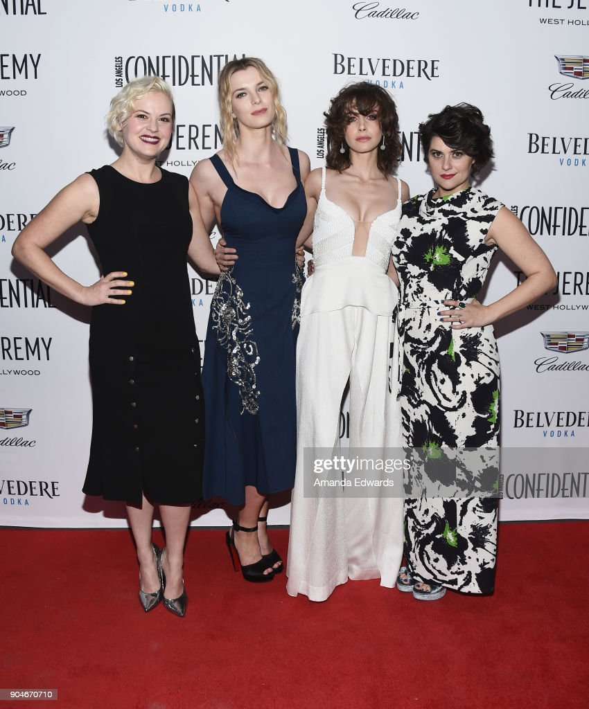 Actresses Kimmy Gatewood, Betty Gilpin, Alison Brie and Rebekka Johnson arrive at the Los Angeles Confidential 'Awards Issue' Celebration hosted by cover stars Alison Brie, Milo Ventimiglia and Ana de Armas at The Jeremy Hotel on January 13, 2018 in West Hollywood, California.