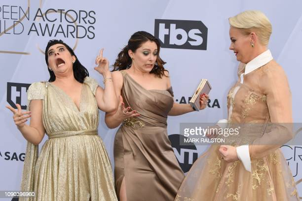 Actresses Kimmy Gatewood Rachel Bloom and Rebekka Johnson arrive for the 25th Annual Screen Actors Guild Awards at the Shrine Auditorium in Los...
