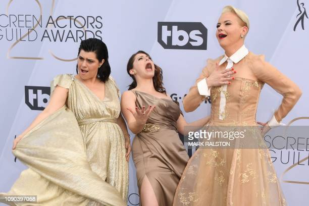 TOPSHOT Actresses Kimmy Gatewood Rachel Bloom and Rebekka Johnson arrive for the 25th Annual Screen Actors Guild Awards at the Shrine Auditorium in...