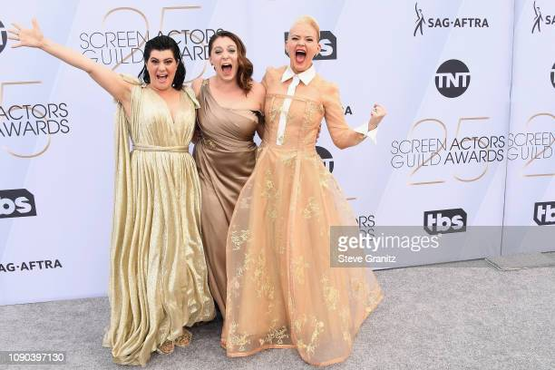 Actresses Kimmy Gatewood Rachel Bloom and Rebekka Johnson attend the 25th Annual Screen Actors Guild Awards at The Shrine Auditorium on January 27...