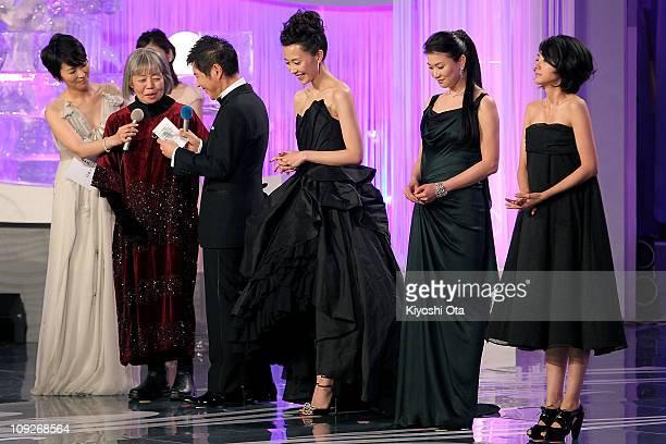 Actresses Kirin Kiki Yoshino Kimura Yui Natsukawa and Hikari Mitsushima attend the 34th Japan Academy Aawrds at Grand Prince Hotel New Takanawa on...