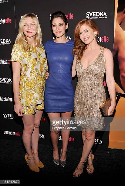 """Actresses Kirsten Dunst, Lizzy Caplan and Isla Fisher attend the """"Bachelorette"""" New York Premiere at Sunshine Landmark on September 4, 2012 in New..."""