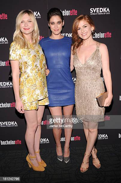 """Actresses Kirsten Dunst, Lizzy Caplan and Isla Fisher attend the """"Bachelorette"""" New York Premiere at Landmark's Sunshine Cinema on September 4, 2012..."""