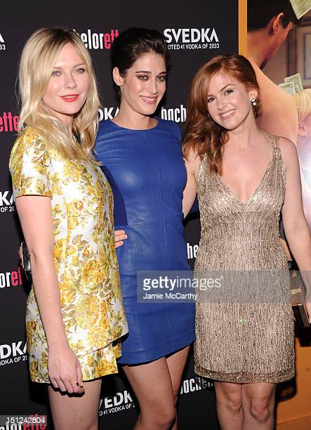 Actresses Kirsten Dunst Lizzy Caplan and Isla Fisher attend the 'Bachelorette' New York Premiere at Landmark's Sunshine Cinema on September 4 2012 in...