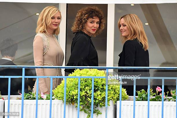 Actresses Kirsten Dunst Valeria Golino and Vanessa Paradis are seen at Jury Members Welcome Cocktail at Hotel Martinez during the annual 69th Cannes...