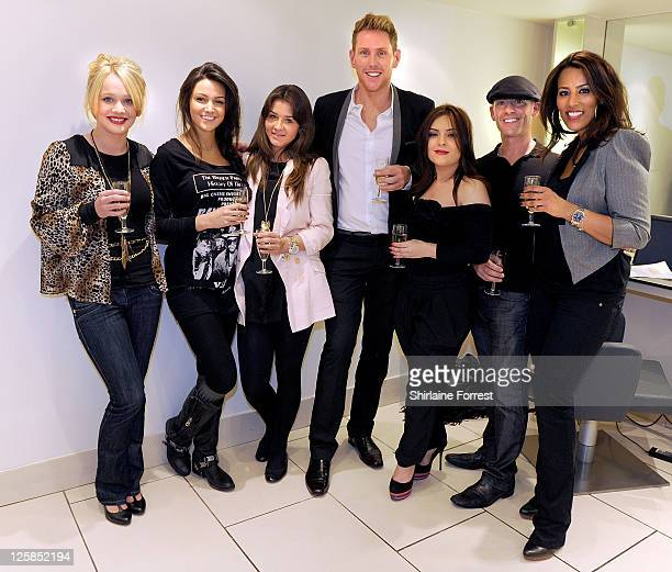 Actresses KirstyLeigh Porter Michelle Keegan and Brooke Vincent with James Roberts Natasha Filippidi Vince Allenby and Shadia Dadio attend the...