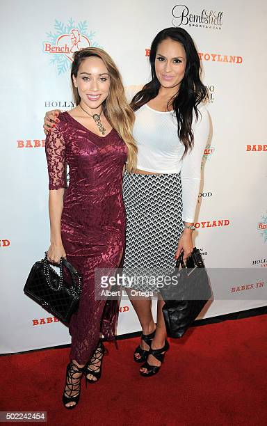 Actresses Korinna Rico and Jes Meza arrive for the 2015 Babes In Toyland And BenchWarmer Charity Toy Drive held at Avalon on December 9 2015 in...