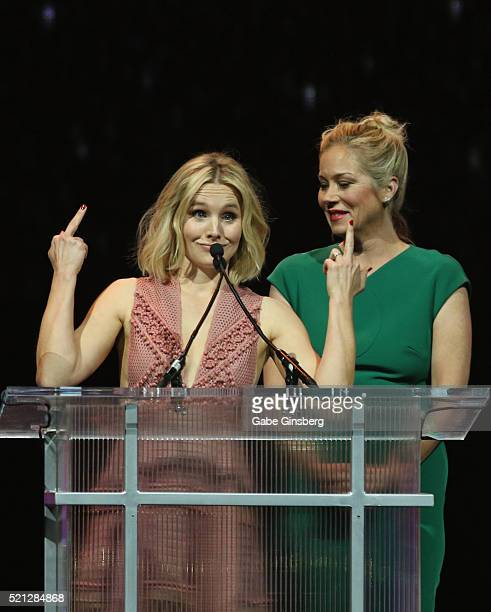 Actresses Kristen Bell and Christina Applegate accept the Female Stars of the Year Award during the CinemaCon Big Screen Achievement Awards at The...