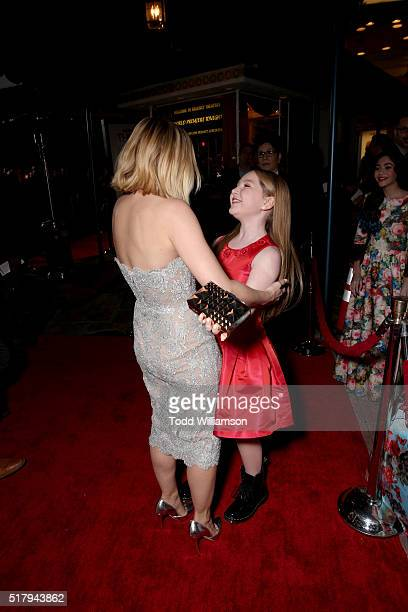 Actresses Kristen Bell and Ella Anderson attend the premiere of USA Pictures' 'The Boss' at Regency Village Theatre on March 28 2016 in Westwood...