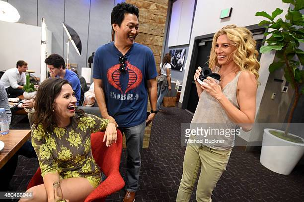 Actresses Kristen Gutoskie and Claudia Black attend the Getty Images Portrait Studio Powered By Samsung Galaxy At ComicCon International 2015 at Hard...