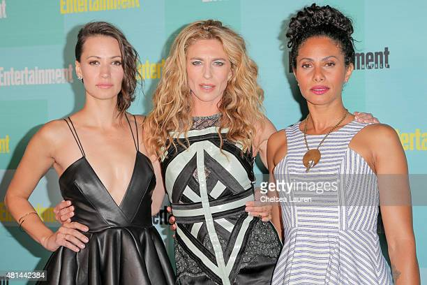 Actresses Kristen Gutoskie, Claudia Black and Christina Marie Moses arrive at the Entertainment Weekly celebration at Float at Hard Rock Hotel San...