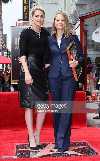Actresses Kristen Stewart and Jodie Foster attend Jodie Foster being honored with a Star on The Hollywood Walk of Fame on May 4 2016 in Hollywood...
