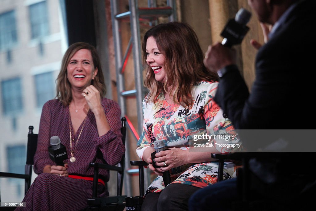 Actresses Kristen Wiig and Melissa McCarthy attend AOL Build Speaker Series: 'Ghostbusters' at AOL HQ on July 12, 2016 in New York City.