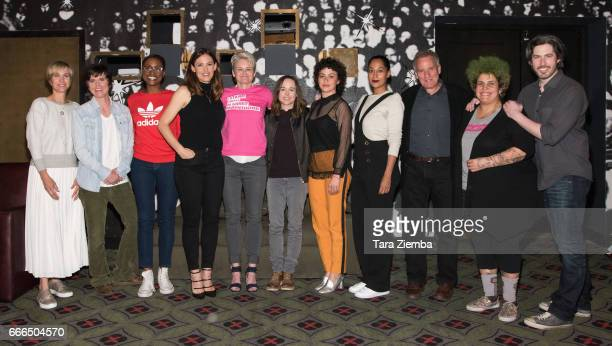 Actresses Kristen Wiig Tig Notaro Issa Rae and Jennifer Garner President and CEO of Planned Parenthood Sue Dunlap actresses Ellen Page Alia Shawkatat...