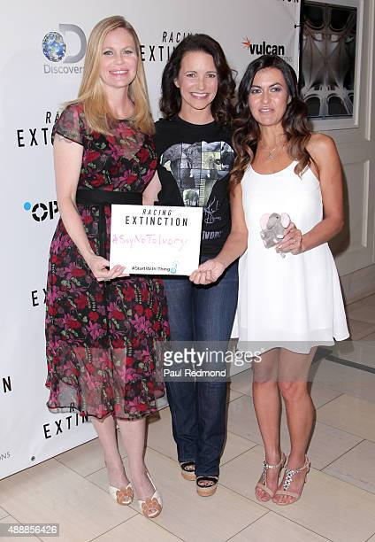 Actresses Kristin Bauer van Straten and Kristin Davis with Leilani Munter attend the premiere of Discovery Channel's Racing Extinction at The London...