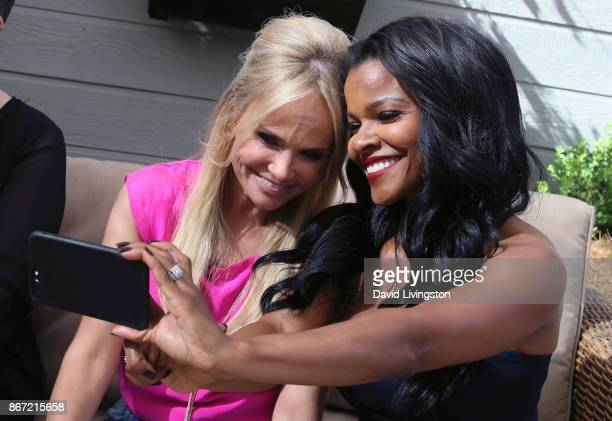 Actresses Kristin Chenoweth and Keesha Sharp pose for a selfie at Hallmark's Home Family at Universal Studios Hollywood on October 27 2017 in...