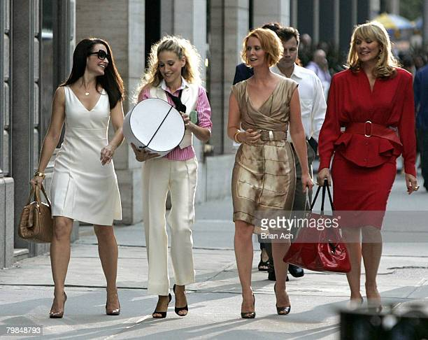 Actresses Kristin Davis as Charlotte Sarah Jessica Parker as Carrie Bradshaw Cynthia Nixon as Miranda and Kim Cattrall as Samantha on location for...