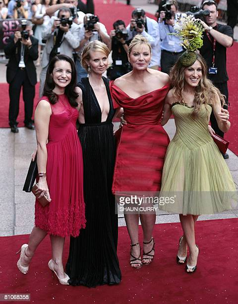 NAME US actresses Kristin Davis Cynthia Nixon Kim Catrall and Sarah Jessica Parker arrive at the Odeon Cinema in London's Leicester Square on May 12...