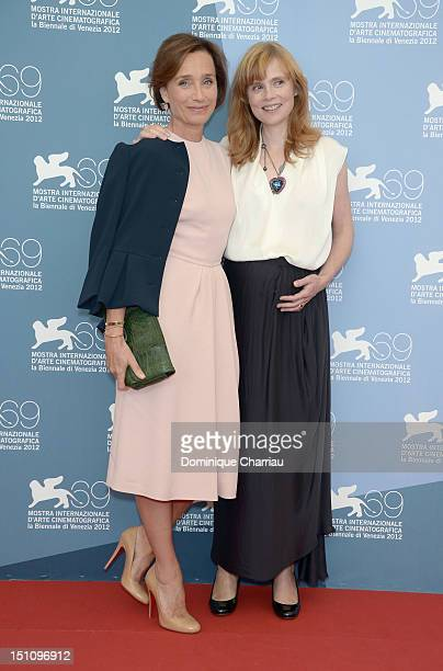 Actresses Kristin Scott Thomas and Isabelle Carre attend 'Cherchez Hortense' Photocall during the 69th Venice International Film Festival at Palazzo...