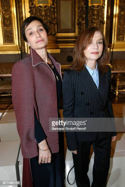 Actresses Kristin Scott Thomas and Isabelle Huppert attend the Stella McCartney show as part of the Paris Fashion Week Womenswear Fall/Winter...