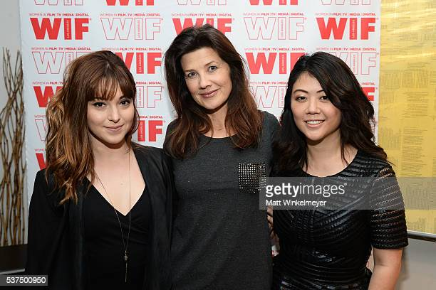 Actresses Krystal Ellsworth Daphne Zuniga and producer Andrea Chung attend the screening and QA for 'Seoul Searching' at Tunnel Post on June 1 2016...