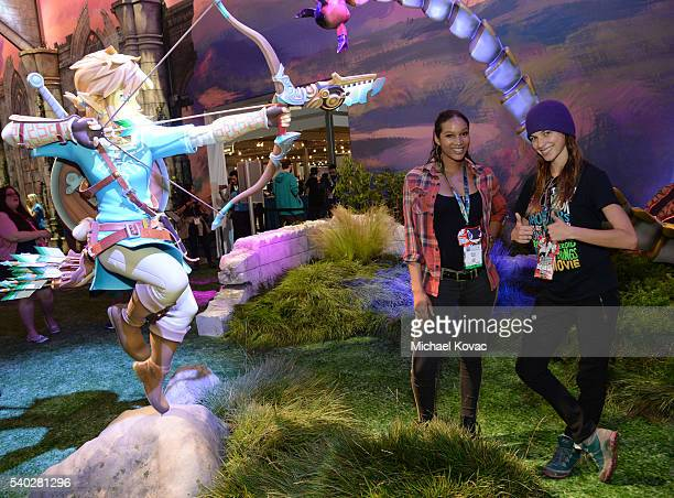 Actresses Krystal M Harris and Alexis Knapp visit the Nintendo booth at the 2016 E3 Gaming Convention at Los Angeles Convention Center on June 14...
