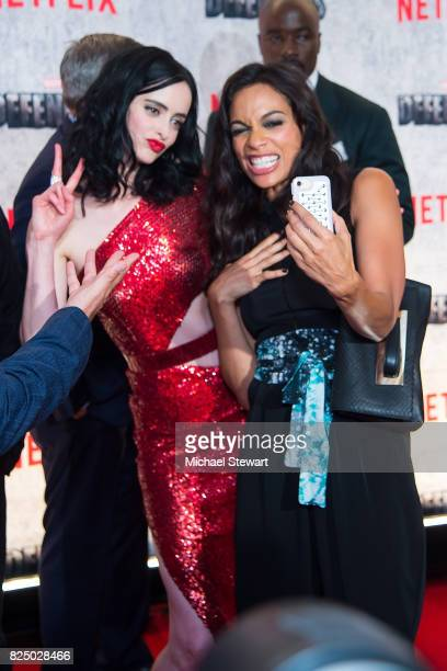 Actresses Krysten Ritter and Rosario Dawson attend the 'Marvel's The Defenders' New York premiere at Tribeca Performing Arts Center on July 31, 2017...