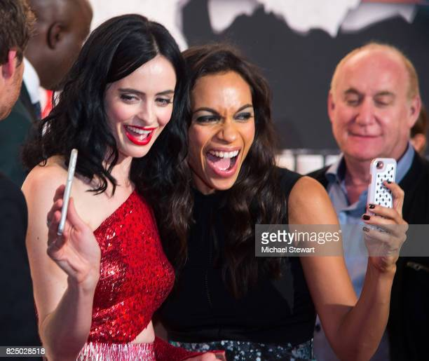Actresses Krysten Ritter and Rosario Dawson attend the 'Marvel's The Defenders' New York premiere at Tribeca Performing Arts Center on July 31 2017...