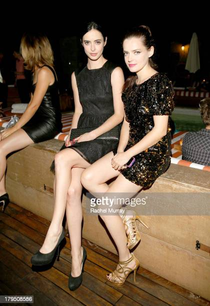 Actresses Krysten Ritter and Roxane Mesquida in Jerome Rousseau's heels attend Peroni presents footwear designer Jerome Rousseau's 5th anniversary...