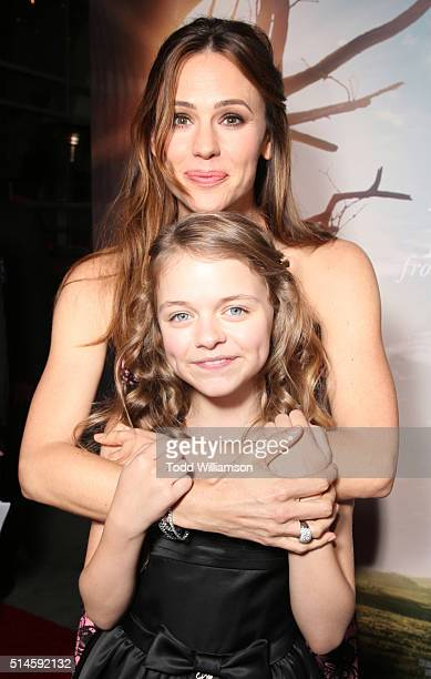 Actresses Kylie Rogers and Jennifer Garner attend the Premiere Of Columbia Pictures' Miracles From Heaven Red Carpet at ArcLight Hollywood on March 9...