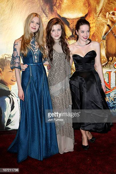 Actresses Laura Brent Georgie Henley and Anna Popplewell attend The Chronicles Of Narnia The Voyage Of The Dawn Treader Royal Film Performance 2010...