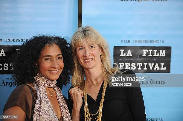 Actresses Laura Dern and Bellina Logan arrive for the world premiere of Paper Man the opening night presentation of the Los Angeles Film Festival at...