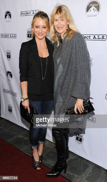 Actresses Laura Dern and Christine Taylor arrive at the Project A.L.S. LA Benefit hosted by Ben Stiller & Friends at Lucky Strike Bowling Alley on...