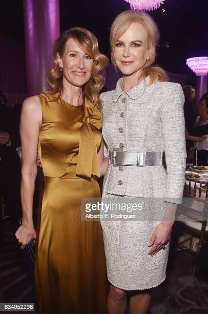 Actresses Laura Dern and Nicole Kidman attend the 89th Annual Academy Awards Nominee Luncheon at The Beverly Hilton Hotel on February 6 2017 in...