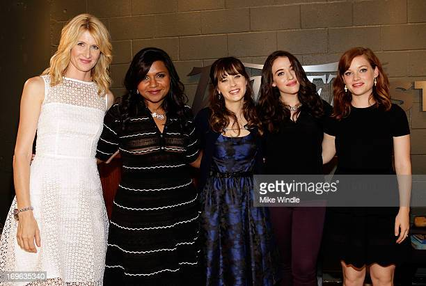 Actresses Laura Dern Mindy Kaling Zooey Deschanel Kat Dennings and Jane Levy attend the Variety Emmy Studio at Palihouse on May 29 2013 in West...