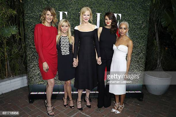 R Actresses Laura Dern Reese Witherspoon Nicole Kidman Shailene Woodley and Zoe Kravitz attend the ELLE's Annual Women In Television Celebration 2017...