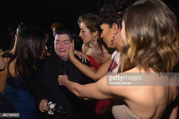 Actresses Laura Gomez Lea DeLaria Alysia Reiner and Selenis Leyva attend TNT's 21st Annual Screen Actors Guild Awards at The Shrine Auditorium on...