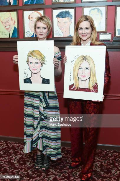 Actresses Laura Linney and Cynthia Nixon attend Sardi's Portrait Unveiling at Sardi's on June 29 2017 in New York City