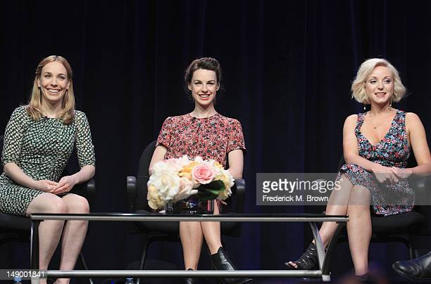 Actresses Laura Main Jessica Raine and Helen George speak onstage at the 'Call the Midwife' panel during day 1 of the PBS portion of the 2012 Summer...