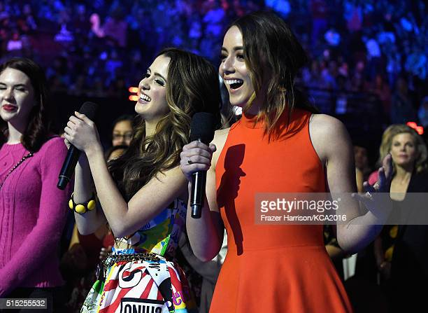 Actresses Laura Marano and Chloe Bennet attend Nickelodeon's 2016 Kids' Choice Awards at The Forum on March 12 2016 in Inglewood California