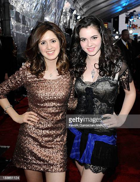 Actresses Laura Marano and Vanessa Marano arrive at the 2011 American Music Awards held at Nokia Theatre LA LIVE on November 20 2011 in Los Angeles...